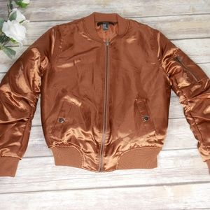 H&M | Size M Copper Shiny Puffer Bomber Jacket
